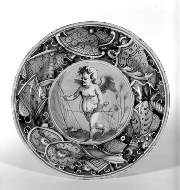 Plate, First half of 16th century. Earthenware, 1 3/8 x 9 in. (diameter of rim)  (3.5 x 22.9 cm). Brooklyn Museum, Special Subsription Fund, 11.696.1. Creative Commons-BY