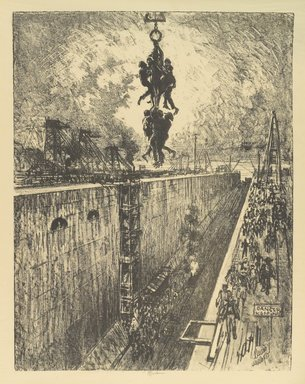 Joseph Pennell (American, 1860-1926). The End of the Day, Gatun Lock, 1912. Lithograph, composition: 21 7/16 x 16 9/16 in. (54.5 x 42 cm). Brooklyn Museum, Gift of William A. Putnam, 12.108