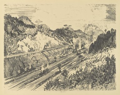 Joseph Pennell (American, 1860-1926). Looking Up the Cut from Bas Opispo, 1912. Lithograph, composition: 16 3/4 x 21 5/8 in. (42.5 x 55 cm). Brooklyn Museum, Gift of William A. Putnam, 12.115