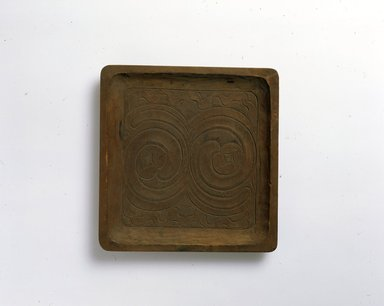 Ainu. Square Light Tray. Wood, 7/8 x 7 15/16 x 8 1/4 in. (2.3 x 20.2 x 20.9 cm). Brooklyn Museum, Gift of Herman Stutzer, 12.350. Creative Commons-BY