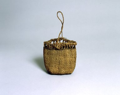 Ainu. Bag. Elm bark plaited, 8 5/16 x 8 1/16 in. (21.1 x 20.5 cm). Brooklyn Museum, Gift of Herman Stutzer, 12.507. Creative Commons-BY