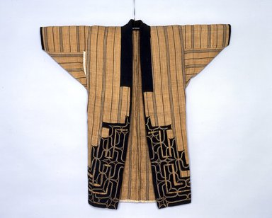 Ainu. Woman's Robe or Kimono. Cotton, elm bark, 42 1/8 x 44 7/8 in. (107 x 114 cm). Brooklyn Museum, Gift of Herman Stutzer, 12.549d. Creative Commons-BY