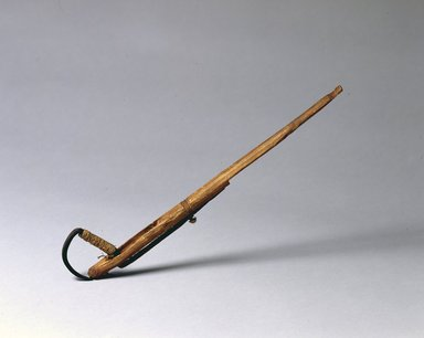 Brooklyn Museum: Long Stick with Fish Hook Attached