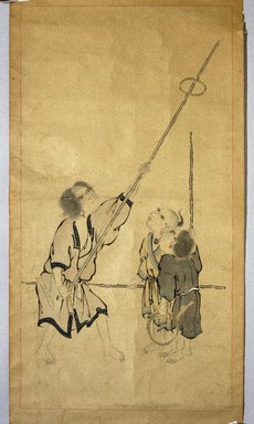 Ainu. Children Playing a Game, 19th century. Hanging scroll, ink and color on paper, With mount: 57 1/8 x 24 11/16 in. (145.1 x 62.7 cm). Brooklyn Museum, Gift of Herman Stutzer, 12.647.2