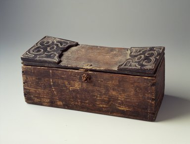 Ainu. Pillow and Cover. Wood, Box (a): 4 5/16 x 4 1/8 x 12 15/16 in. (10.9 x 10.4 x 32.9 cm). Brooklyn Museum, Gift of Herman Stutzer, 12.674a-b. Creative Commons-BY