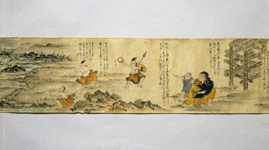 Ainu. Long Scroll, late 19th century. Handscroll, ink and color on paper, Width: 5 1/8 in. (13 cm) Length: 388 9/16 in. (987 cm). Brooklyn Museum, Brooklyn Museum Collection, 12.687