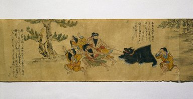 Ainu. Local Customs of the Ainu, 19th century. Hand scroll, ink and colors on paper, 10 5/8 x 332 1/8 in. (27 x 843.6 cm). Brooklyn Museum, Brooklyn Museum Collection, 12.688