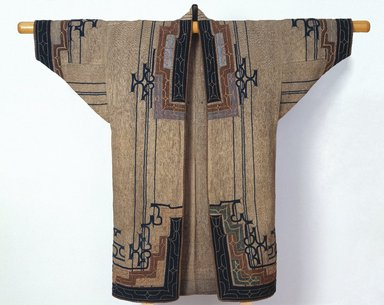 Ainu. Woman's Robe, late 19th-early 20th century. Elm bark fiber cloth (attush) with appliqué and embroidery, 49 5/8 x 52 3/8 in. (126 x 133 cm). Brooklyn Museum, Gift of Herman Stutzer, 12.690. Creative Commons-BY