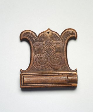 Ainu. Ornament. Wood, 1/2 x 3 1/16 x 3 3/16 in. (1.3 x 7.8 x 8.1 cm). Brooklyn Museum, Gift of Herman Stutzer, 12.789. Creative Commons-BY