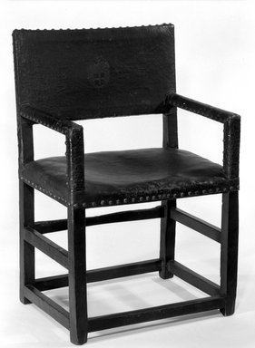 Armchair, 17th century. Leather, 38 x 24 7/16 x 17 11/16 in. (96.5 x 62 x 45 cm). Brooklyn Museum, Brookyln Museum Collection, 12.878. Creative Commons-BY