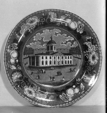 Plate (Court House Baltimore), ca. 1835. Earthenware, 8 5/8 in. (21.9 cm). Brooklyn Museum, Gift of Mrs. George D. Pratt, 12.900.17. Creative Commons-BY