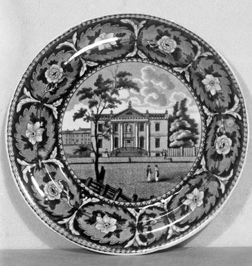 J. & W. Ridgway (1814-1830). Plate (Library Philadelphia), ca. 1820. Earthenware, 8 1/8 in. (20.6 cm). Brooklyn Museum, Gift of Mrs. George D. Pratt, 12.900.27. Creative Commons-BY