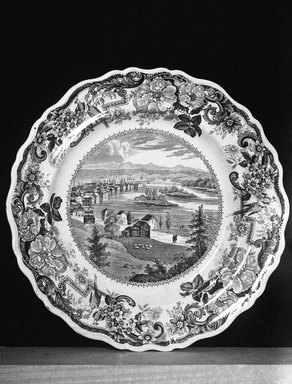 Clews Warrented Staffordshire. Plate (Troy from Mount Ida, Hudson River), ca. 1829-1836. Earthenware, 10 1/2 in. (26.7 cm). Brooklyn Museum, Gift of Mrs. George D. Pratt, 12.900.9. Creative Commons-BY