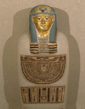 Cartonnage Mummy Covering, 305-30 B.C.E. Cartonnage, paint, gold leaf, Fragment a: 13 9/16 x 10 1/4 in. (34.5 x 26 cm). Brooklyn Museum, Gift of the Egypt Exploration Society, 12.911.2a-f. Creative Commons-BY