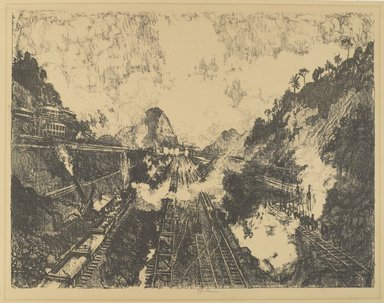 Joseph Pennell (American, 1860-1926). The Cut.  Looking Toward Ancon Hill, 1912. Lithograph, composition: 16 13/16 x 22 1/16 in. (42.7 x 56 cm). Brooklyn Museum, Gift of William A. Putnam, 12.98