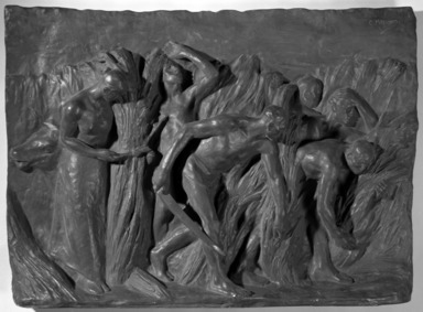 Constantin Meunier (Belgian, 1831-1905). The Harvest. Bronze, 23 x 32 1/2 in. (58.4 x 82.6 cm). Brooklyn Museum, Gift of Alfred T. White, 12349.1. Creative Commons-BY