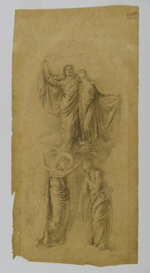 """John La Farge (American, 1835-1910). Study for """"Sealing of the Twelve Tribes"""" Window, ca. 1889. Graphite on yellow, translucent, smooth textured wove paper, sheet (Irregular): 16 3/8 x 8 in. (41.6 x 20.3 cm). Brooklyn Museum, Gift of George D. Pratt, 13.1063"""
