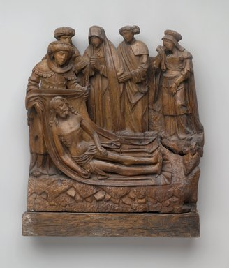 Lamentation, ca. 1500-1510. Carved wood, 15 3/8 x 14 x 3 1/4 in. (39.1 x 35.6 x 8.3 cm). Brooklyn Museum, 13.23. Creative Commons-BY