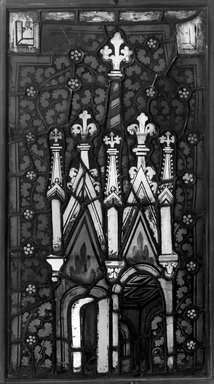 Stained Glass with Representation of Pinnacles, 1370-1375. Glass, Frame: 32 x 18 1/2 in. (81.3 x 47 cm). Brooklyn Museum, Gift of George D. Pratt, 13.29. Creative Commons-BY