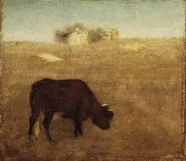 Albert Pinkham Ryder (American, 1847-1917). Evening Glow, The Old Red Cow, early-mid 1870s. Oil on canvas, 7 7/8 x 9 in. (20 x 22.8 cm). Brooklyn Museum, Frederick Loeser Fund, 13.34