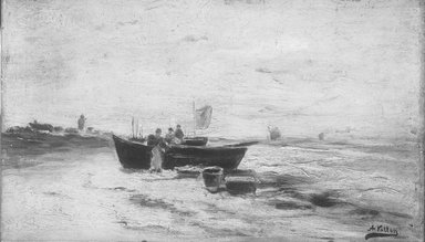 Antoine Vollon (French, 1833-1900). Coast Scene with Fishing Boats, 1860-1865. Oil on cradled panel, 9 1/4 x 16 3/16 in.  (23.5 x 41.1 cm). Brooklyn Museum, Gift of Charles A. Schieren, 13.41