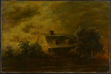 Ralph Albert Blakelock (American, 1847-1919). Farmhouse of F.B. Guest, ca. 1868. Oil on canvas, 16 1/8 x 24 1/8 in. (40.9 x 61.2 cm). Brooklyn Museum, Gift of Charles A. Schieren, 13.46
