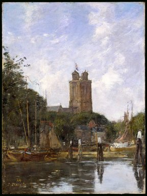 Eugène Louis Boudin (French, 1824-1898). Dordrecht, the Grote Kerk from the Canal, 1874. Oil on panel, 13 13/16 x 10 3/8 in. (35.1 x 26.4 cm). Brooklyn Museum, Gift of Mrs. Carll H. de Silver in memory of her husband, 13.47