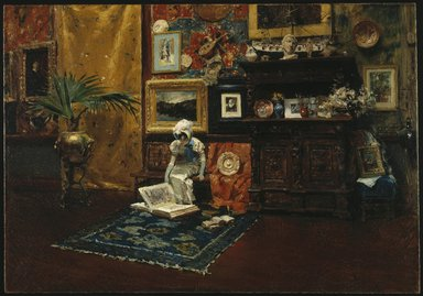 William Merritt Chase (American, 1849-1916). Studio Interior, ca. 1882. Oil on canvas, 28 1/16 x 40 1/8 in. (71.2 x 101.9 cm). Brooklyn Museum, Gift of Mrs. Carll H. de Silver in memory of her husband, 13.50