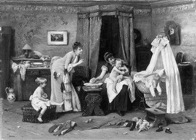 Václav Brožík (Czech, 1851-1901). Children's Toilette, late 19th century. Oil on panel, Panel: 37 x 51 1/2 in. (94 x 130.8 cm). Brooklyn Museum, Gift of Mrs. Carll H. de Silver in memory of her husband, 13.52