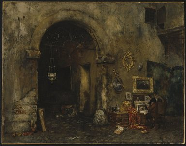 William Merritt Chase (American, 1849-1916). The Antiquary Shop, 1879. Oil on canvas, 26 1/2 x 33 15/16 in. (67.3 x 86.2 cm). Brooklyn Museum, Gift of Mrs. Carll H. de Silver in memory of her husband, 13.53