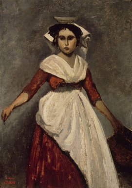 Jean-Baptiste-Camille Corot (French, 1796-1875). An Italian Girl, ca. 1826-1828. Oil on paperboard mounted on panel, 12 11/16 x 9 1/8 in. (32.2 x 23.2 cm). Brooklyn Museum, Gift of Charles A. Schieren, 13.56