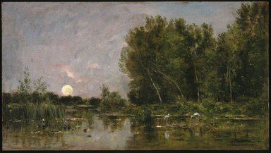 Charles-François Daubigny (French, 1817-1878). Moonrise, 1877. Oil on panel, 15 7/8 x 26 3/4 in. (40.3 x 67.9 cm). Brooklyn Museum, Gift of Mrs. Carll H. de Silver in memory of her husband, 13.59