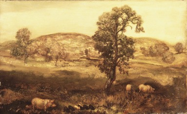Arthur B. Davies (American, 1862-1928). Landscape with Pigs (Autumn Landscape), ca. 1897. Oil on canvas, 18 3/16 x 29 15/16 in. (46.2 x 76 cm). Brooklyn Museum, Gift of Charles A. Schieren, 13.61