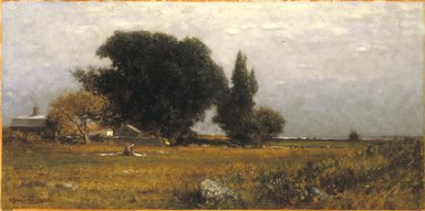 Robert Swain Gifford (American, 1840-1905). Trees and Meadow, ca. 1885. Oil on canvas, 11 15/16 x 23 7/8 in. (30.3 x 60.6 cm). Brooklyn Museum, Gift of Mrs. Carll H. de Silver in memory of her husband, 13.69