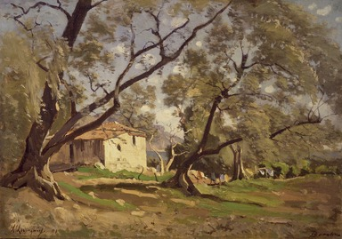 Henri-Joseph Harpignies (French, 1819-1916). A Dairy in Beaulieu (Une laiterie à Beaulieu), 1891. Oil on lined canvas, 12 1/2 x 17 1/2 in. (31.8 x 44.4 cm). Brooklyn Museum, Gift of Mrs. Carll H. de Silver in memory of her husband, 13.72
