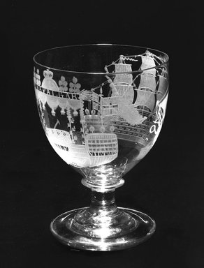 Nelson Funeral Rummer, ca. 1710-1810. Glass, 7 5/8 x 5 3/4 in. (19.4 x 14.6 cm). Brooklyn Museum, Purchased by Special Subscription and Museum Collection Fund, 13.745. Creative Commons-BY
