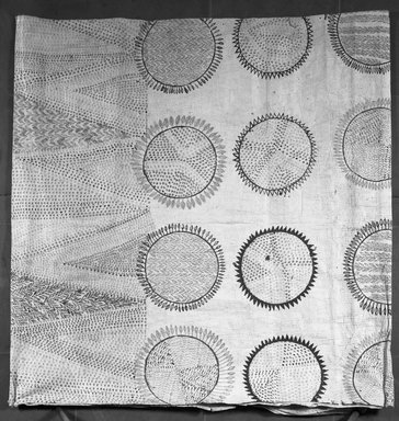 Hawaiian or Central Polynesian. Tapa Sheet  [in two halves], mid 19th-early 20th century. Bark cloth, pigment, 93 5/16 x 74 in (237 x 188 cm). Brooklyn Museum, Brooklyn Museum Collection, 14.24. Creative Commons-BY