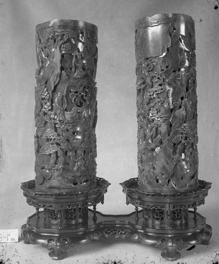 Pair of Vases, 18th century (possibly). Jade, 9 3/4 x 3 11/16 in. (24.8 x 9.4 cm). Brooklyn Museum, Bequest of Robert B. Woodward, 14.342a-b. Creative Commons-BY