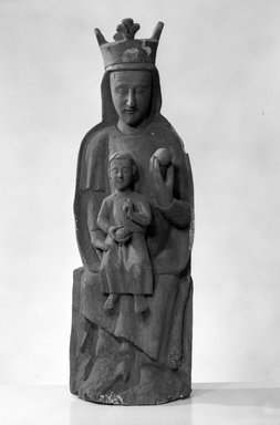 Spanish. Seated Figure of the Virgin and Christ Child, possibly 14th century. Wood, Height: 37 in. (94 cm). Brooklyn Museum, Museum Collection Fund, 14.521. Creative Commons-BY
