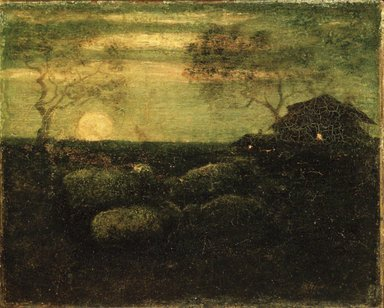 Albert Pinkham Ryder (American, 1847-1917). The Sheepfold, late 1870s. Oil on canvas, 8 5/8 x 10 5/8 in. (21.5 x 22.6 cm). Brooklyn Museum, Gift of A. Augustus Healy, 14.551