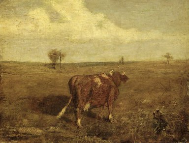 Albert Pinkham Ryder (American, 1847-1917). Summer's Fruitful Pastures, mid-late 1870s. Oil on panel, 7 5/8 x 9 15/16 in. (19.4 x 25.2 cm). Brooklyn Museum, Museum Collection Fund, 14.552