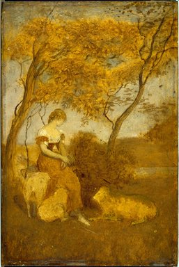 Albert Pinkham Ryder (American, 1847-1917). The Shepherdess, early 1880s. Oil on panel, 10 1/8 x 6 13/16 in. (25.7 x 17.3 cm). Brooklyn Museum, Frederick Loeser Fund, 14.553