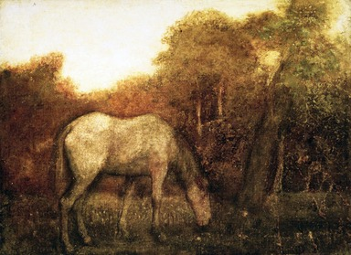 Albert Pinkham Ryder (American, 1847-1917). The Grazing Horse, mid 1870s. Oil on canvas, 10 3/16 x 14 1/8 in. (25.8 x 35.8 cm). Brooklyn Museum, Augustus Graham School of Design Fund, 14.554