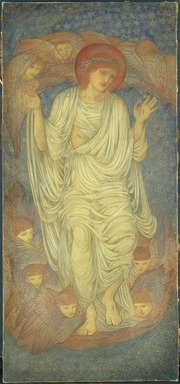 Sir Edward Coley Burne-Jones (British, 1833-1898). Christ in Glory (Salvator Mundi), begun 1874. Wax crayon and graphite on paper mounted on canvas, 76 x 35 in.  (193.0 x 88.9 cm). Brooklyn Museum, Gift of George D. Pratt, 14.566