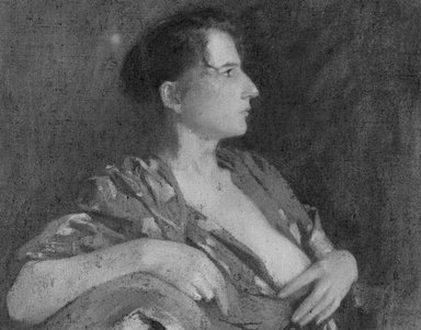 Samuel Isham (American, 1855-1914). The Lilac Kimono, ca. 1895-1900. Oil on canvas, 23 11/16 x 37 x 28 7/8 in. (60.2 x 94 x 73.4 cm). Brooklyn Museum, Gift of the Estate of Samuel Isham, 14.572