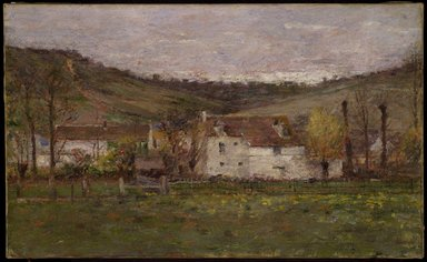 Theodore Robinson (American, 1852-1896). A French Hamlet, ca. 1892. Oil on canvas, 15 13/16 x 25 3/4 in. (40.2 x 65.4 cm). Brooklyn Museum, Gift of George D. Pratt, 14.578