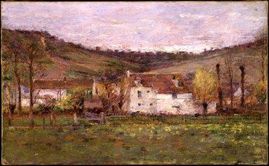 Theodore Robinson (American, 1852-1896). A French Hamlet, ca. 1892. Oil on canvas, 15 13/16 x 25 3/4 in. (40.2 x 65.4 cm). Brooklyn Museum, Gift of George D. Pratt, 14.578