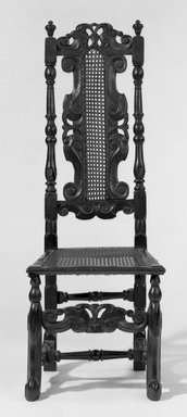 Side Chair with Carved Cresting, ca. 1675., 47 3/4 x 18 x 19 in. (121.3 x 45.7 x 48.3 cm). Brooklyn Museum, Gift of Frederic B. Pratt, 14.593. Creative Commons-BY