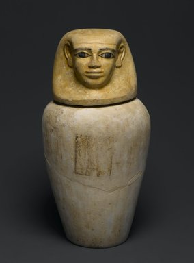 Canopic Jar and Cover of Lady Senebtisi, ca. 1938-1759 B.C.E. Limestone, painted, 15 1/2 x 8 1/2 in. (39.4 x 21.6 cm). Brooklyn Museum, Museum Collection Fund, 14.662a-b. Creative Commons-BY