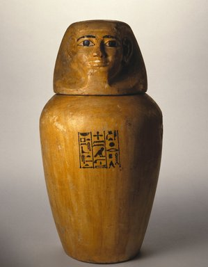 Canopic Jar of Lady Senebtisi, ca. 1938-1759 B.C.E. Limestone, painted, 10 1/2 x 8 in. (26.7 x 20.3 cm). Brooklyn Museum, Museum Collection Fund, 14.664a-b. Creative Commons-BY